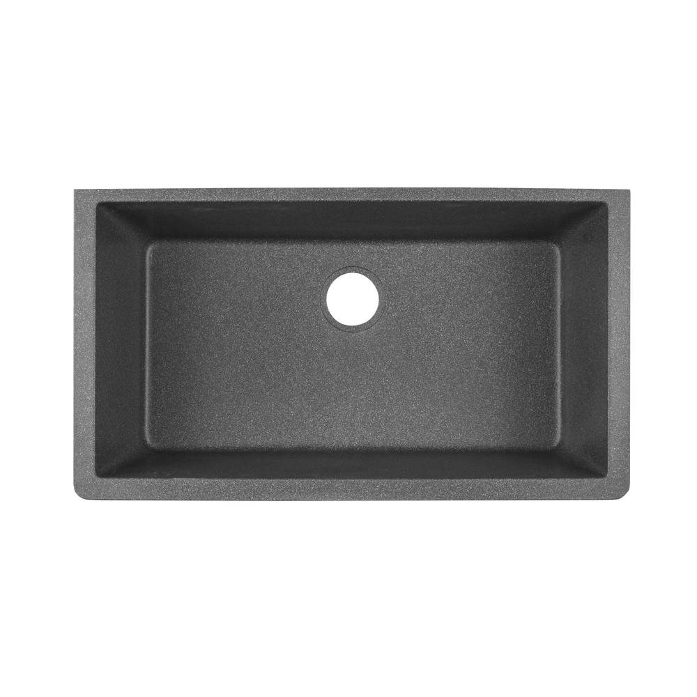 Elkay Quartz Classic Undermount Composite 33 In. Single Bowl Kitchen Sink  In Slate