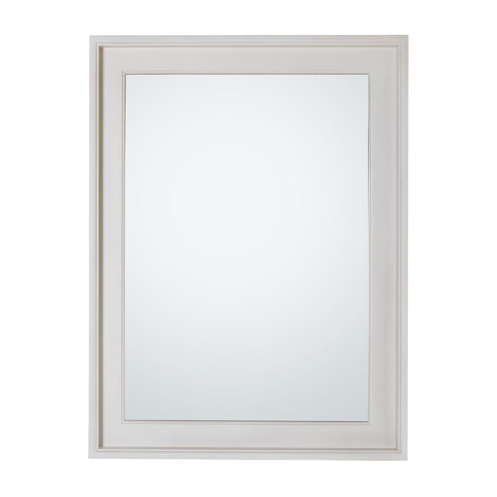 24 in. W x 32 in. H Framed Rectangular  Bathroom Vanity Mirror in White Wash