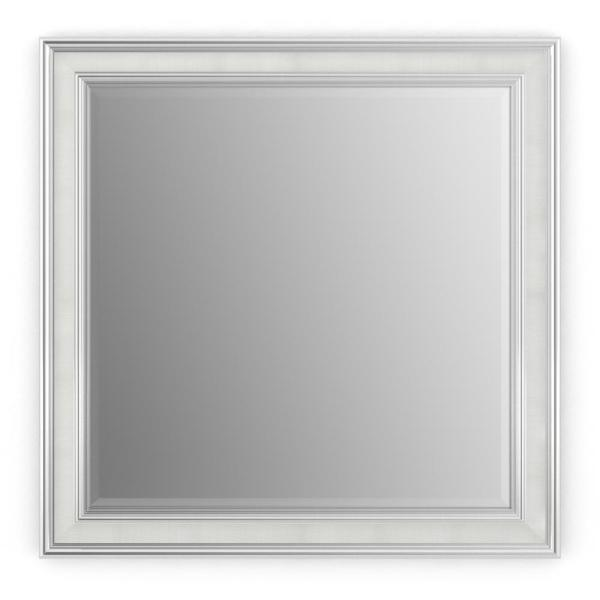 33 in. W x 33 in. H (L2) Framed Square Deluxe Glass Bathroom Vanity Mirror in Chrome and Linen