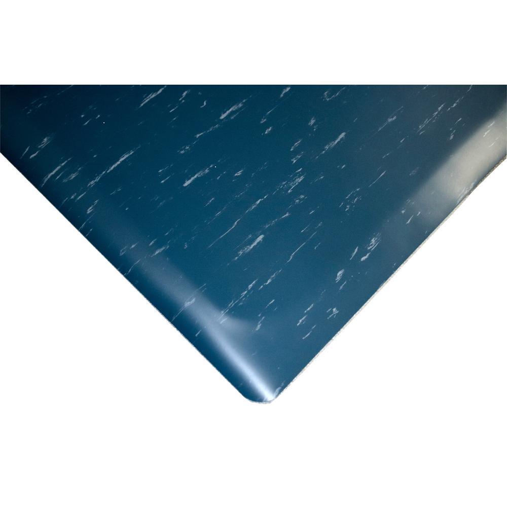 Marbleized Tile Top Anti-fatigue Mat 2 ft. x 33 ft. x 1/2 in. Blue Commercial Mat
