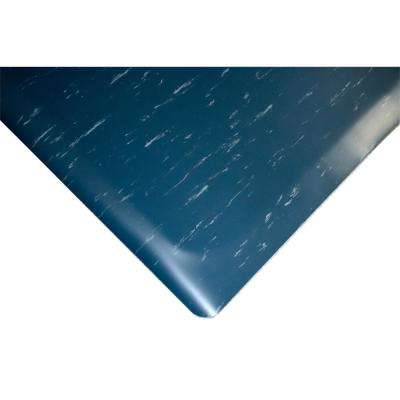 Marbleized Tile Top Anti-fatigue Mat 2 ft. x 6 ft. x 1/2 in. Blue Commercial Mat