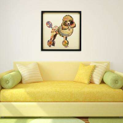 "25 in. x 25 in. ""Poodle"" Dimensional Collage Framed Graphic Art Under Glass Wall Art"