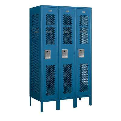 71000 Series 3 Compartments Single Tier 36 In. W x 66 In. H x 18 In. D Vented Metal Locker Assembled in Blue