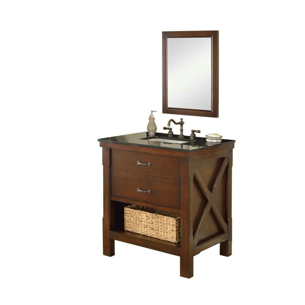 Direct vanity sink Xtraordinary Spa 32 in. Vanity in Dark Brown with Granite Vanity Top in Black and Mirror