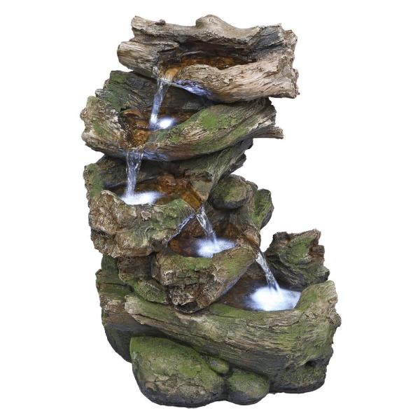 Mesquite Falls Stone Bonded Resin Illuminated Garden Fountain