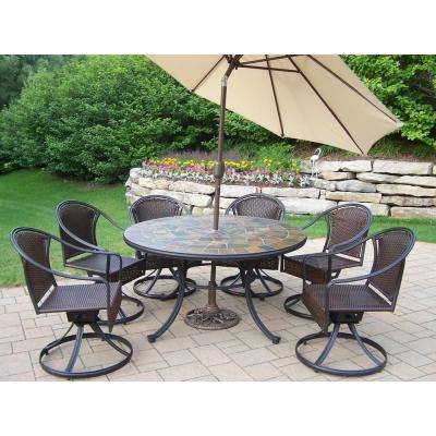 Swivel 9 Piece Metal Outdoor Dining Set With Beige Umbrella