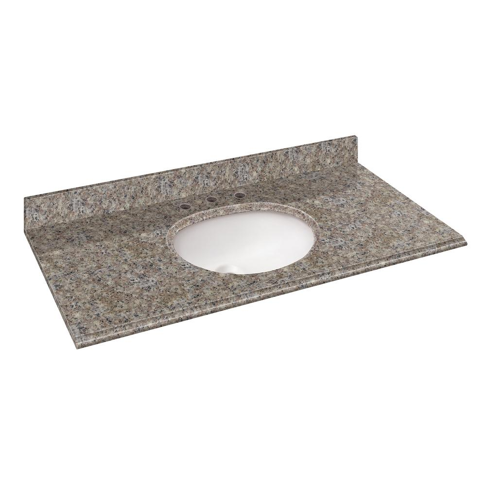 Pegasus 49 in. W Granite Vanity Top in Montero with White Bowl and 8 ...