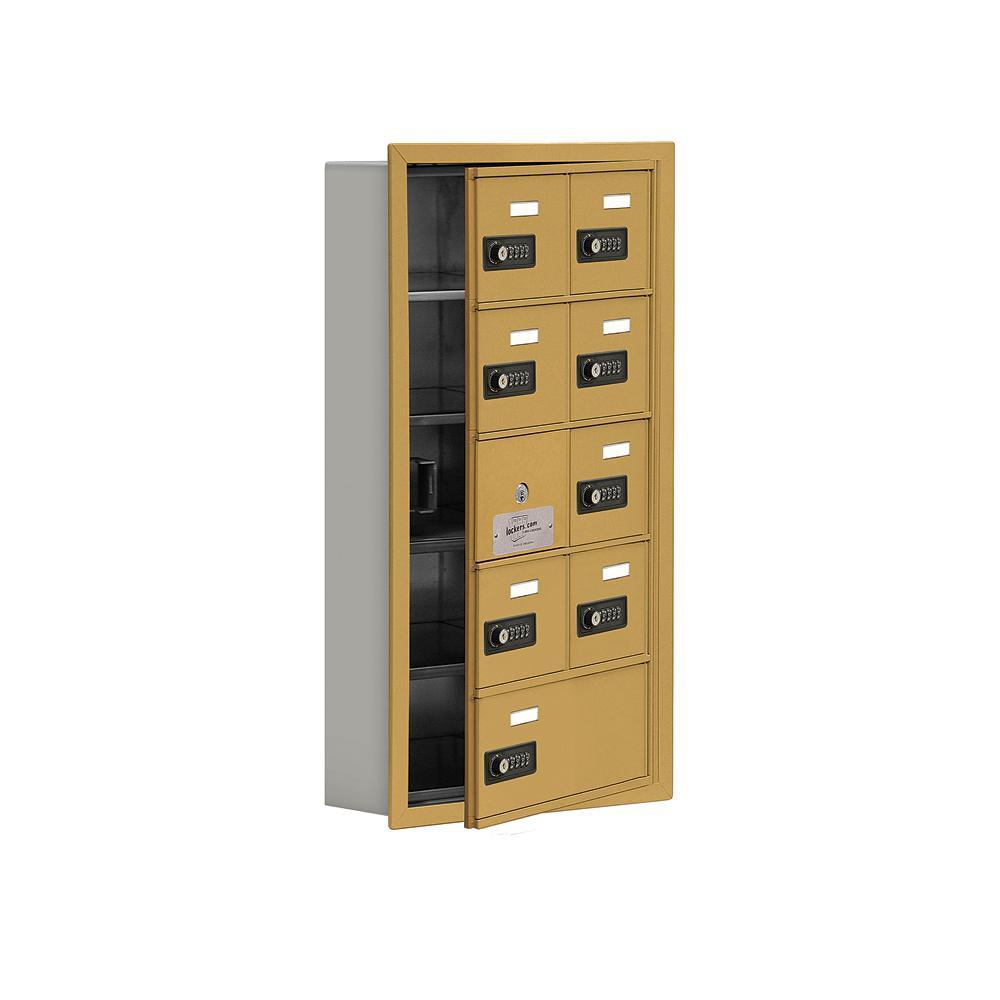 19100 Series 16.25 in. W x 29.75 in. H x 5.75 in. D 8 Doors Cell Phone Locker Recess Mount Resettable Lock in Gold