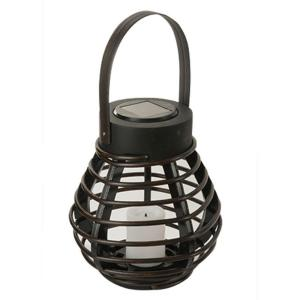 Solar Brown Integrated LED Deck Light with Mini Solar PVC Rattan Basket