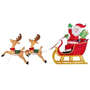 8.5 ft Yuletide Lane LED Santa's Sleigh with Two Reindeers