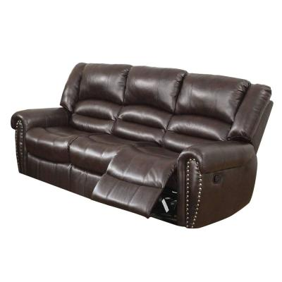 86 in. Brown Faux Leather 3 Seat Sofa with Reclining