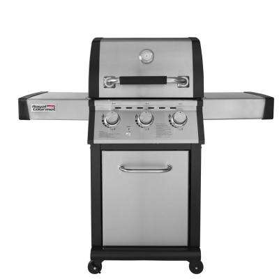 Deluxe 3-Burner Patio Propane Gas Grill with Fixed Side Tables