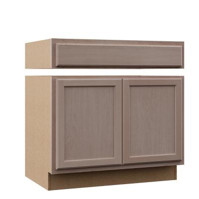 Hampton Assembled 36x34.5x24 in. Accessible Sink Base Kitchen Cabinet in Unfinished Beech