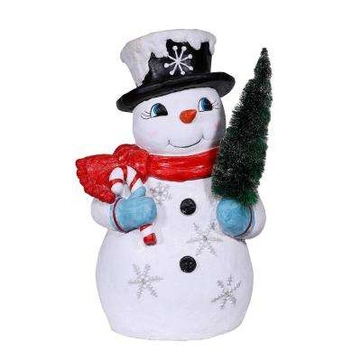 25 in. Blissful Tree Grabbing Snowman with Warm White LED Lights