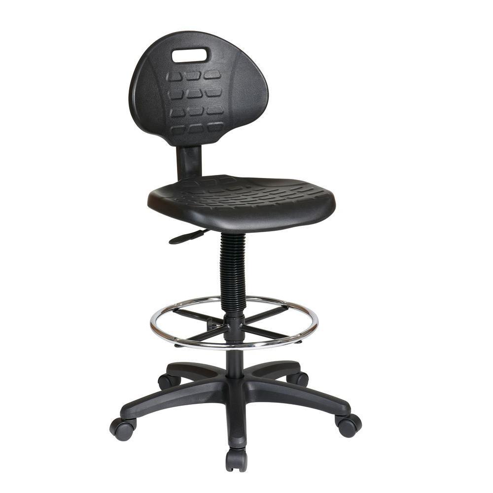 Black Urethane Drafting Chair