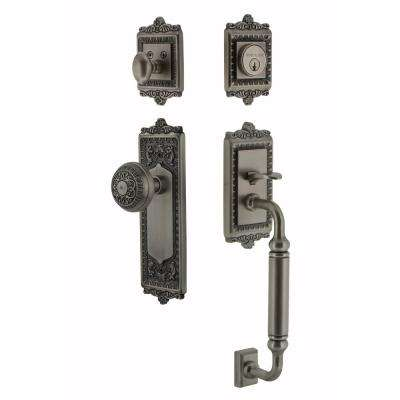 Egg and Dart Plate 2-3/8 in. Backset Antique Pewter C Grip Entry Set Egg and Dart Knob