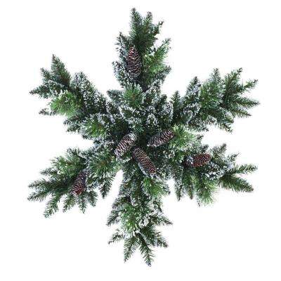 32 in. LED Pre-Lit Glittery Bristle Snowflake Artificial Christmas Wreath