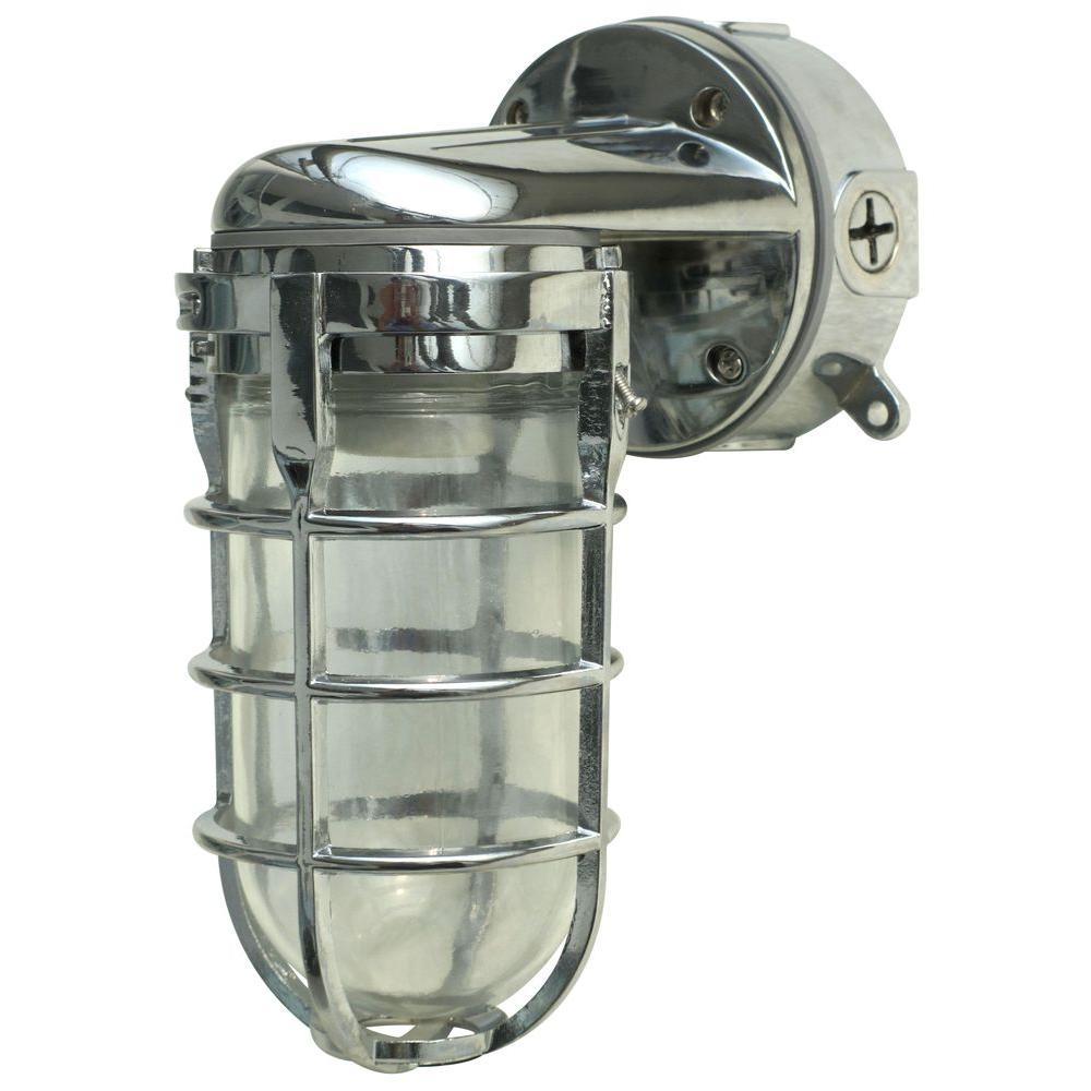100-Watt Chrome Incandescent Industrial Flushmount Wall Light