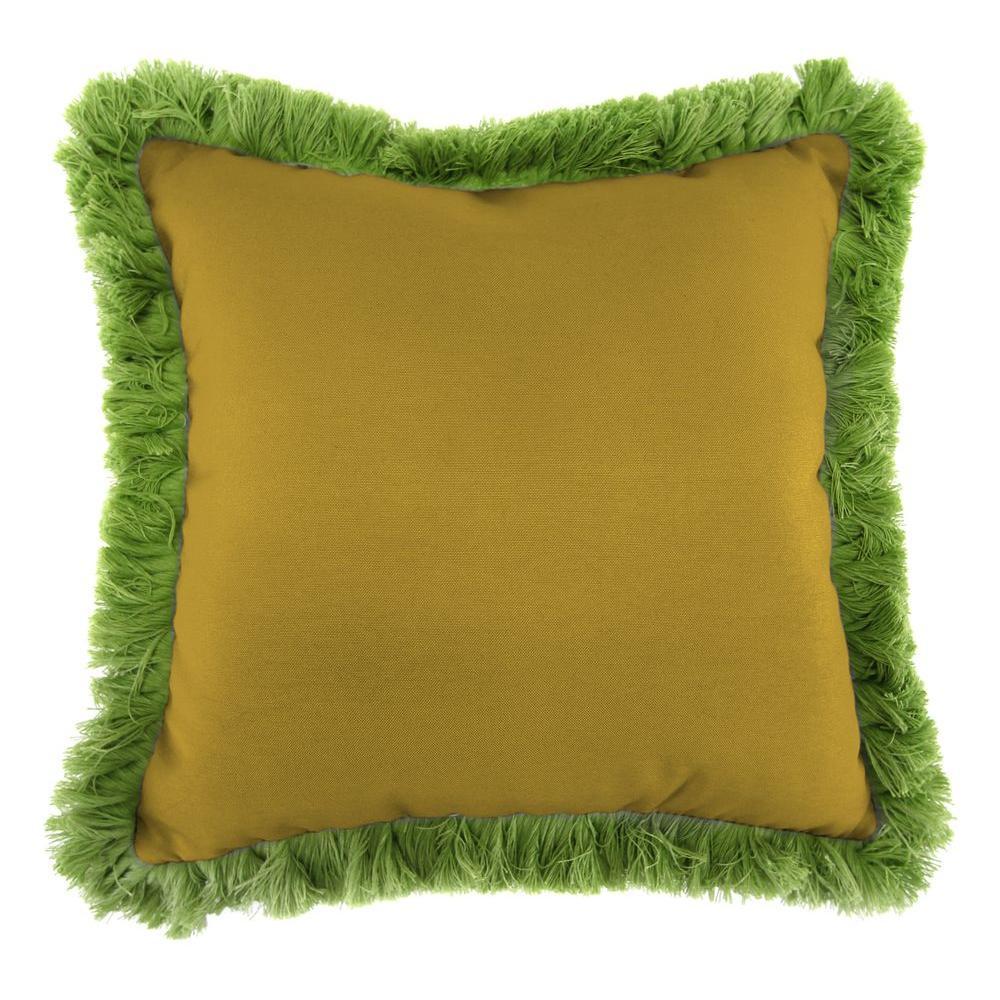 Jordan Manufacturing Sunbrella Canvas Maize Square Outdoor Throw Pillow with Gingko Fringe