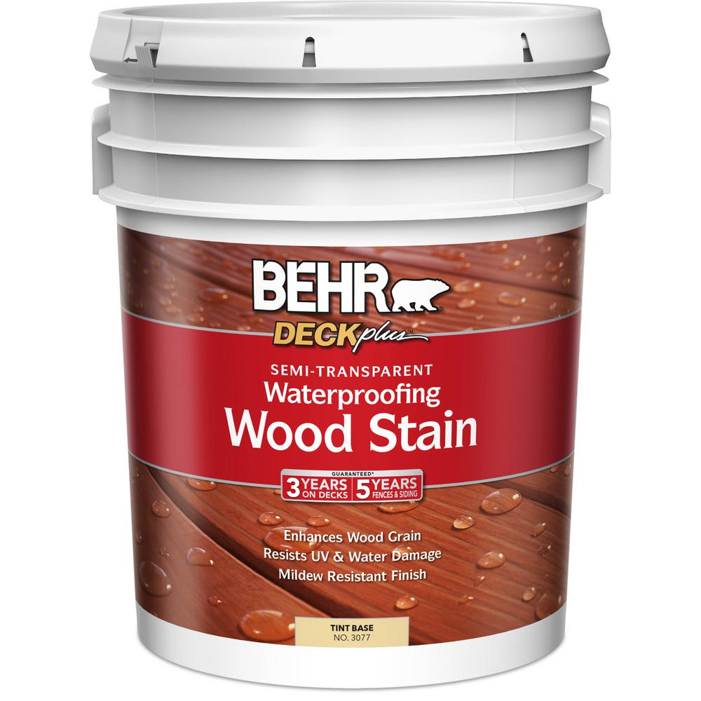 behr deckplus 5 gal base semi transparent waterproofing exterior