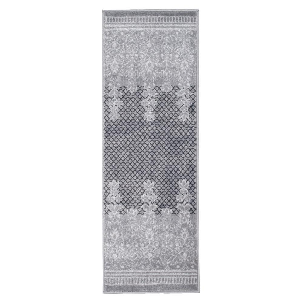 Lavish Home Royal Garden Grey 2 Ft X 5 Ft Runner Rug 62 2024a 44