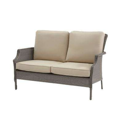 Grayson Ash Gray Wicker Outdoor Patio Loveseat with Sunbrella Beige Tan Cushions