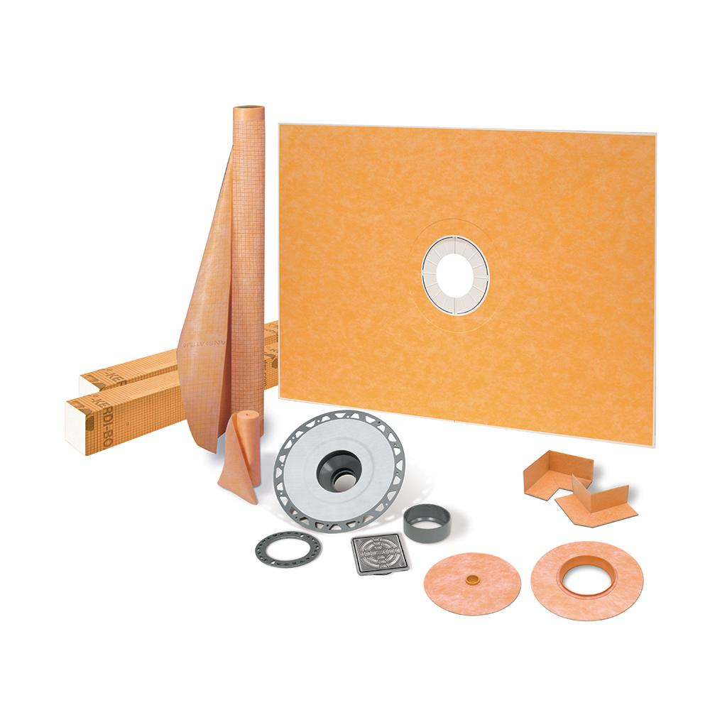 Schluter Kerdi-Shower-Kit 38 in. x 60 in. Shower Kit in PVC with Stainless Steel Drain Grate