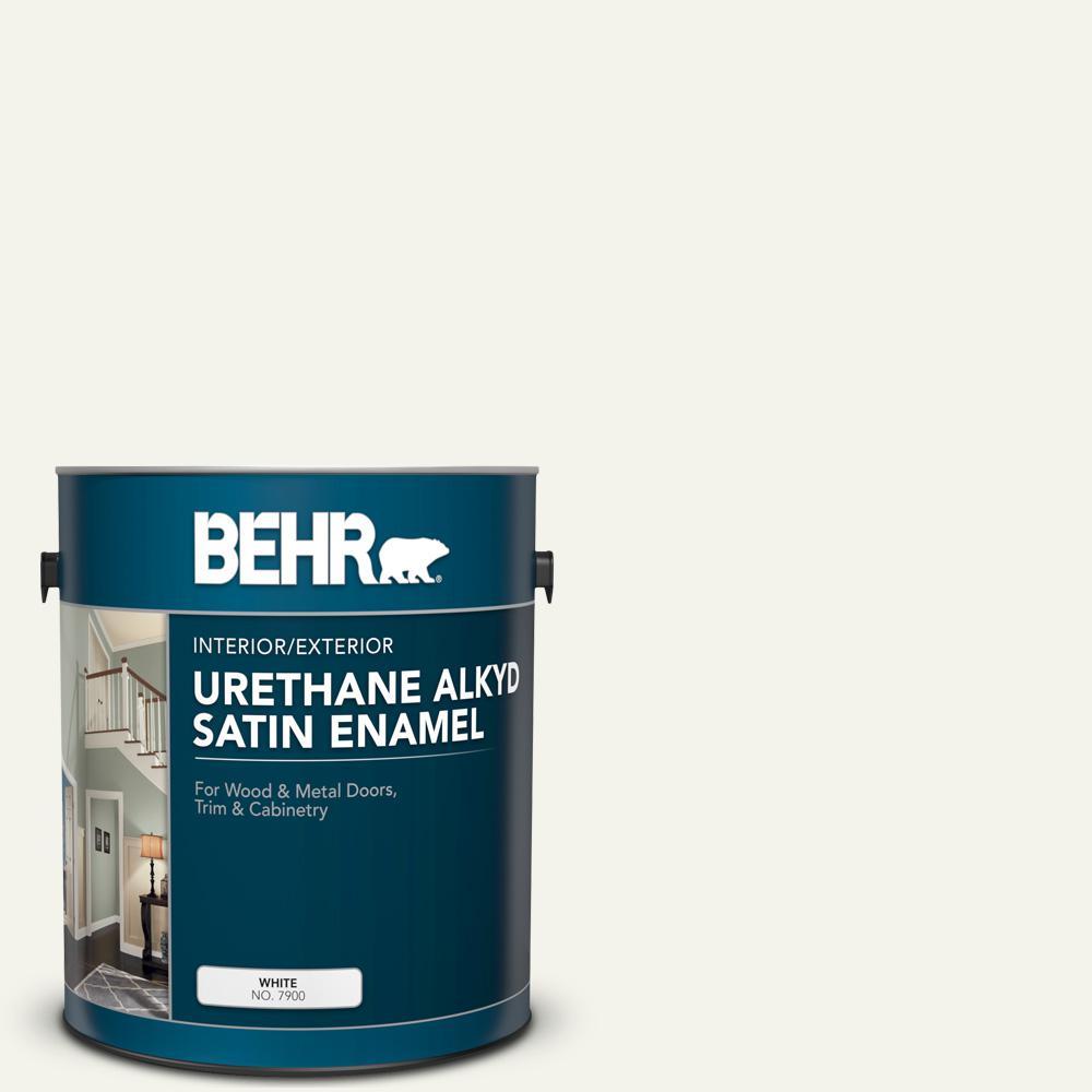 BEHR 1 gal. #PWN-50 Snowy Egret Urethane Alkyd Satin Enamel Interior/Exterior Paint