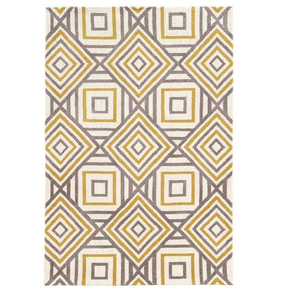 Geo Collection Ivory/Grey 5 ft. x 7 ft. Indoor Area Rug
