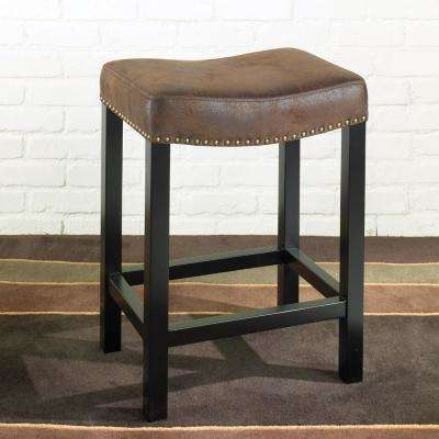 Tudor 26 in. Wrangler Brown Fabric and Black Wood with Nailhead Accents Backless Barstool