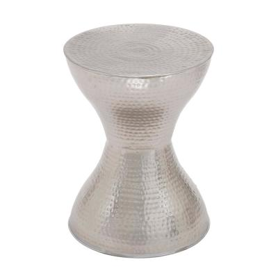 Hammered Silver Iron Hourglass-Shaped Accent Table
