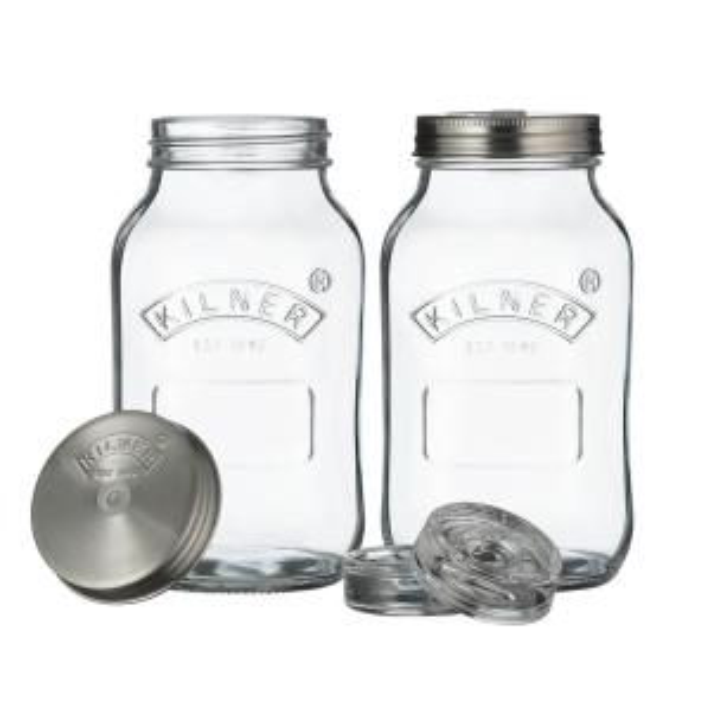 Set of 2 Small Glass Fermentation Jars