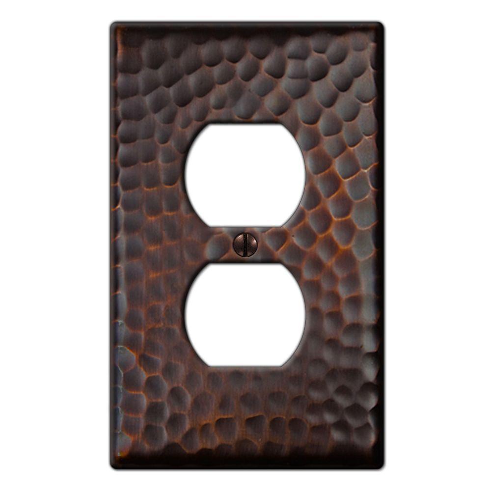 Hammered 1 Duplex Outlet Plate - Aged Bronze