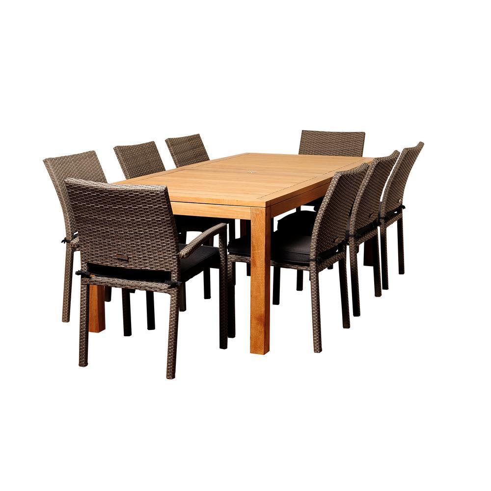 Taylor 9-Piece Teak Rectangular Patio Dining Set with Grey Cushion