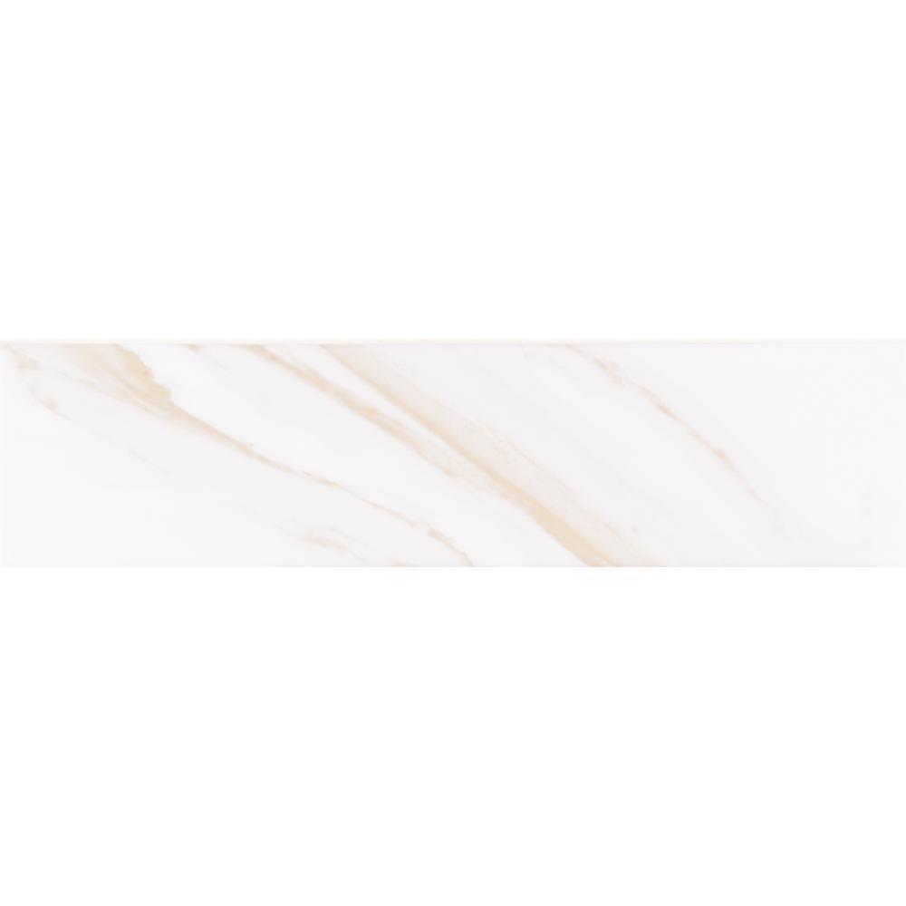Classique White Calacatta Glossy 4 in. x 16 in. Glazed Ceramic