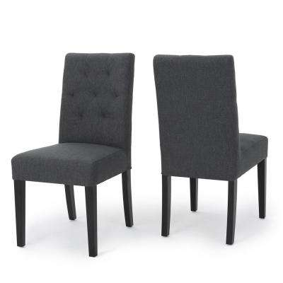 Gentry Dark Grey Fabric Tufted Dining Chair (Set of 2)