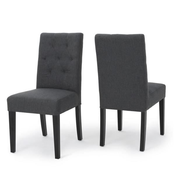 9c543a056127 Gentry Dark Grey Fabric Tufted Dining Chair (Set of 2). by Noble House