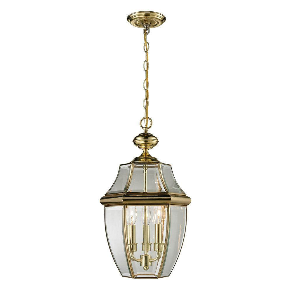 Titan Lighting Ashford 3-Light Antique Brass Outdoor Pendant