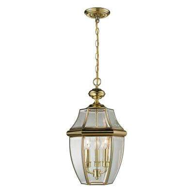 Ashford 3 Light Antique Brass Outdoor Pendant