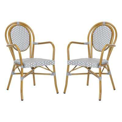 Rosen Stacking Aluminum Outdoor Dining Chair in Grey and White (Set of 2)