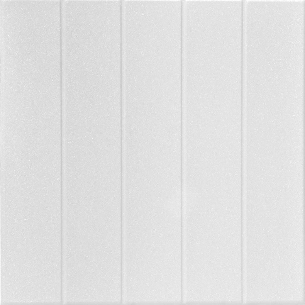 Bead Board 1.6 ft. x 1.6 ft. Glue Up Foam Ceiling Tile in Plain White (21.6 sq. ft./case)