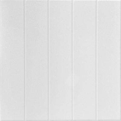 Bead Board 1.6 ft. x 1.6 ft. Glue Up Foam Ceiling Tile in Plain White (21.6 sq. ft./case)