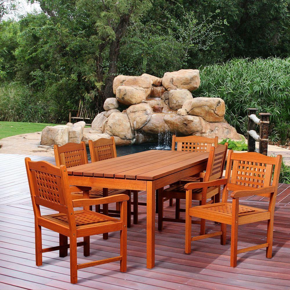 Carter 7-Piece Eucalyptus Rectangular Patio Dining Set