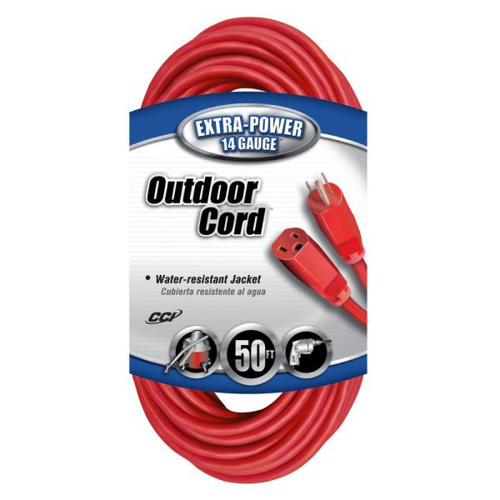 50 ft. 14/3 SJTW Outdoor Medium-Duty Extension Cord, Red