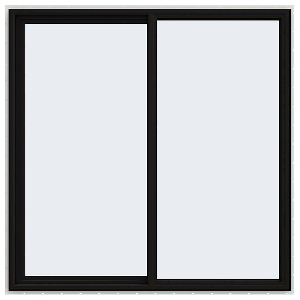 JELD-WEN 60 in. x 60 in. V-4500 Series Black FiniShield Vinyl Left-Handed Sliding Window with Fiberglass Mesh Screen