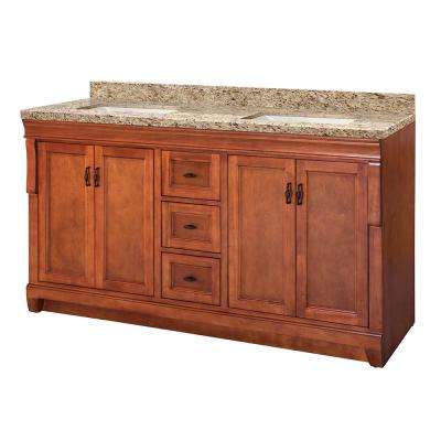 Naples 61 in. W x 22 in. D Vanity in Warm Cinnamon with Granite Vanity Top in Giallo Ornamental with White Sink