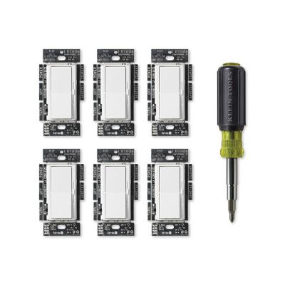 Diva LED+ Dimmer Switch for Dimmable LEDs, White (6-Pack), Klein 11-in-1 Multi Bit Screwdriver and Nut Driver