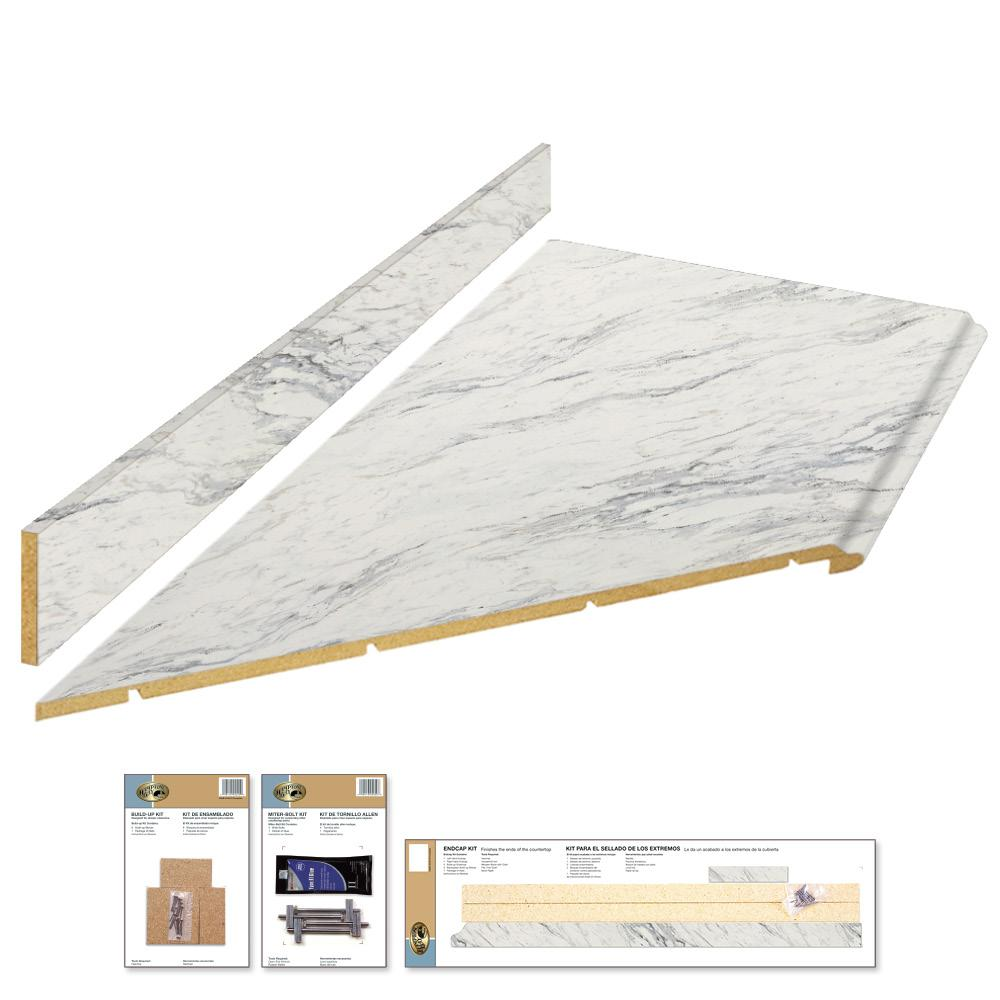 Hampton Bay 8 ft. Laminate Countertop Kit with Left Miter in Calcutta Marble with Valencia Edge