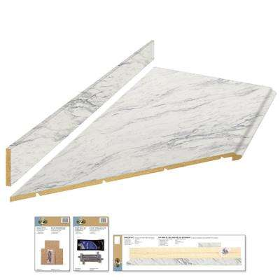 8 ft. Laminate Countertop Kit with Left Miter in Calcutta Marble with Premium Textured Gloss Finish and Valencia Edge