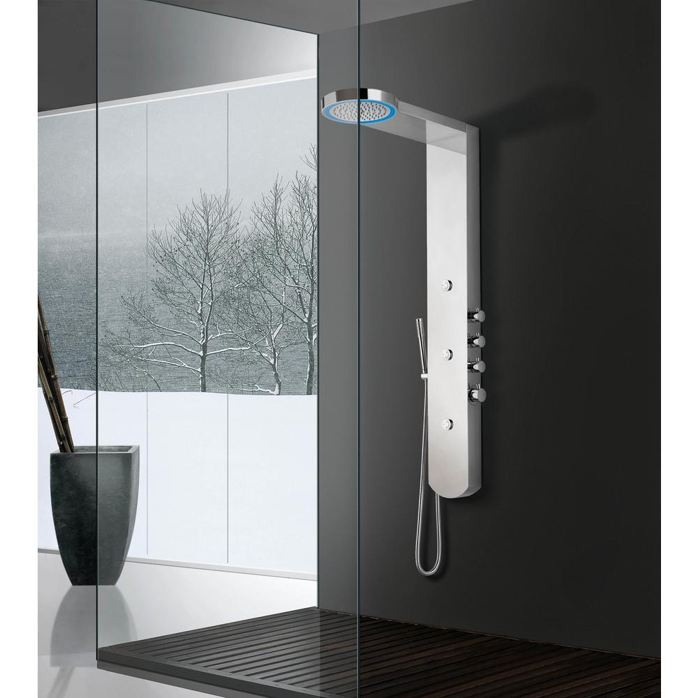 BOANN 3-Jet Moon LED Shower Panel System in Brushed Stainless ...